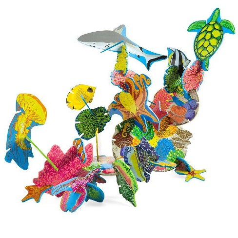 Coral Reef Connectagons Wooden Building Set For Kids - Hearthsong - image 1 of 2