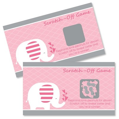 Big Dot of Happiness Pink Elephant - Girl Baby Shower or Birthday Party Game Scratch Off Cards - 22 Count