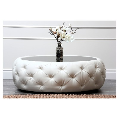 Roseville Round Leather Coffee Table   Abbyson Living : Target
