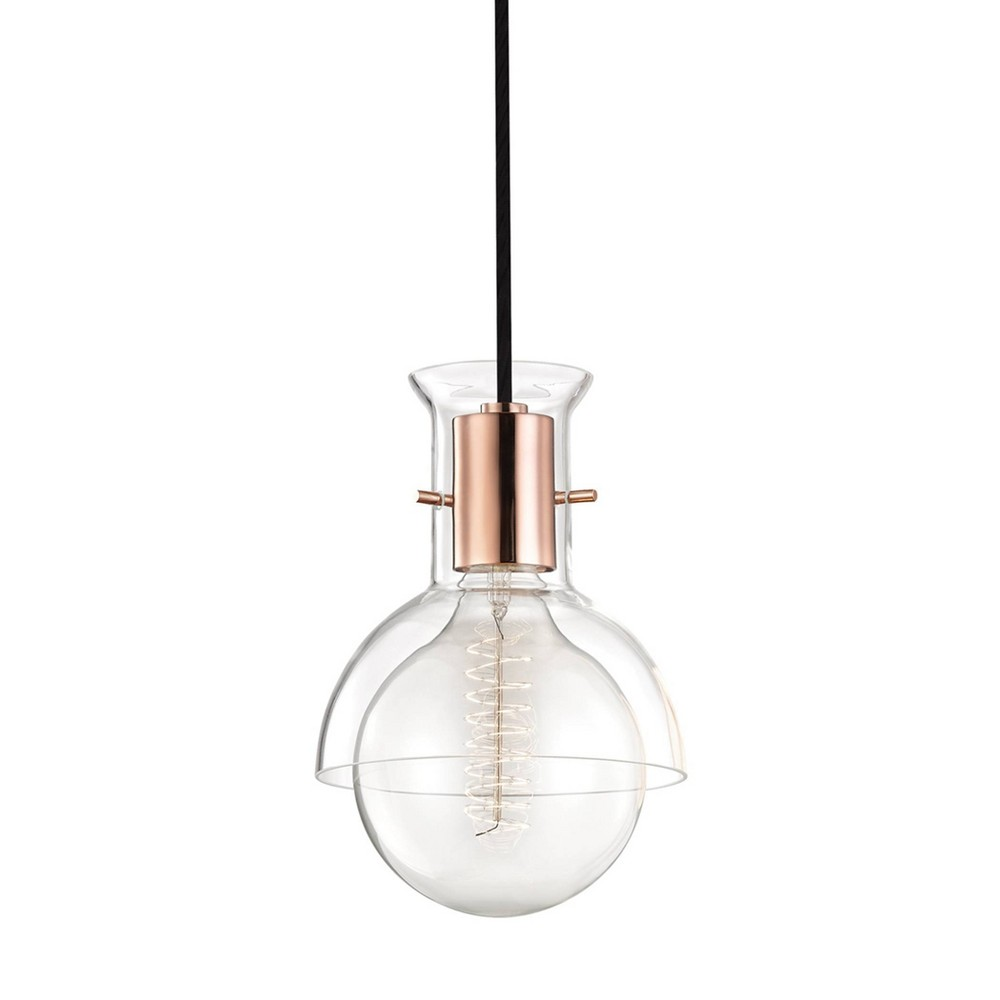Riley 1-Light Pendant Chandelier Clear Glass Polished Copper - Mitzi by Hudson Valley Buy