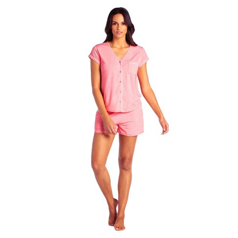 Softies Women's Cap Sleeve PJ Shorts Set with Contrast Piping - image 1 of 4