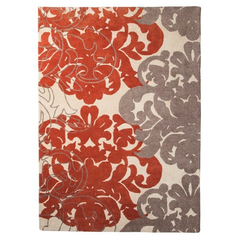 Coral/Gray Exploded Damask Area Rug (7'X10') - Threshold™ - image 1 of 2