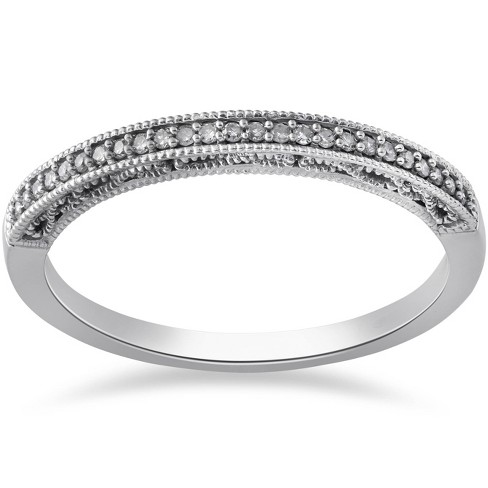 Pompeii3 1/10ct Vintage Diamond Wedding Ring 10K White Gold - image 1 of 4
