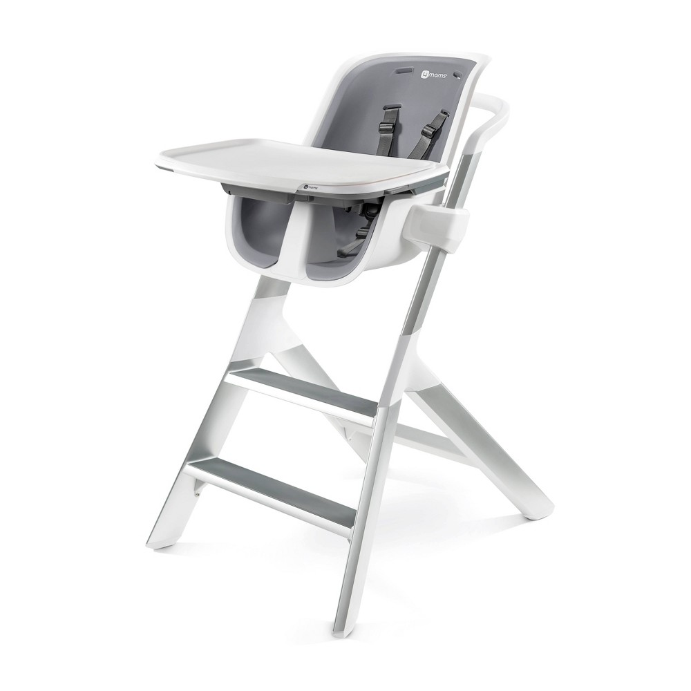 Image of 4moms high chair with Magnetic One-Handed Tray Attachment - White/Gray