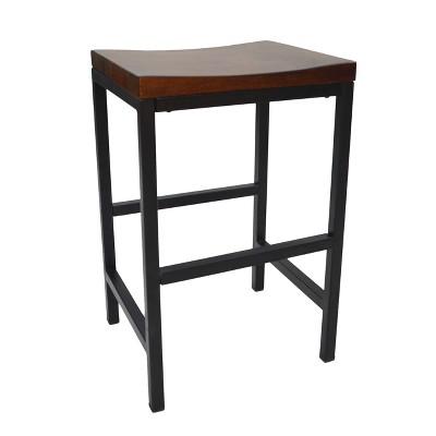 "24"" Ira Counter Height Barstool Metal/Chestnut - Carolina Chair & Table"