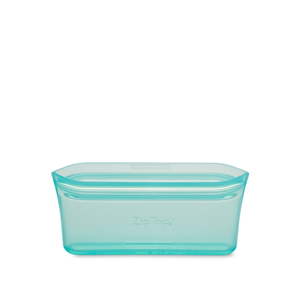 Image of Zip Top 4oz Reusable 100% Platinum Silicone Container - Snack Bag - Teal