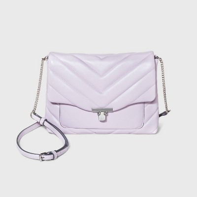 Turn Key Metal Clasp Closure Crossbody Bag - A New Day™ Lilac