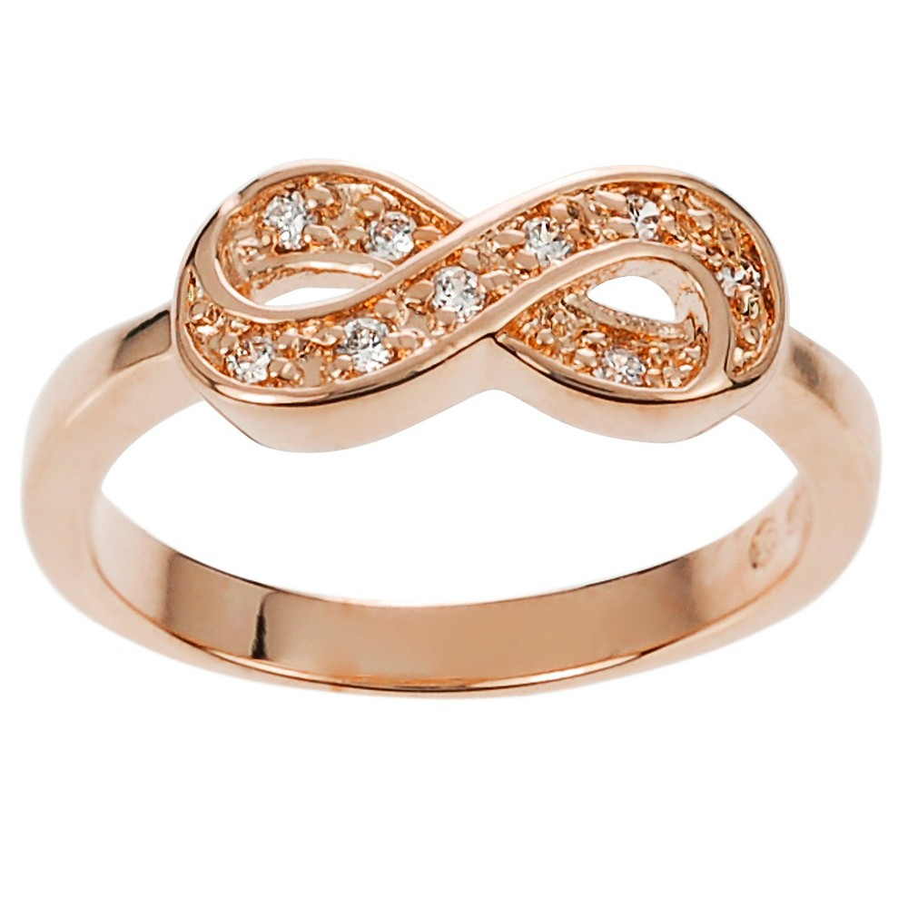 1/3 CT. T.W. Round-cut Cubic Zirconia Infinity Pave Set Ring in Sterling Silver - Rose Gold, 9, Girl's, Pink