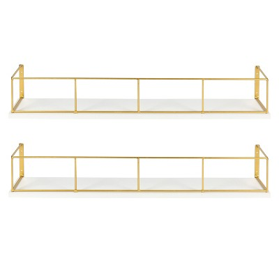 24  x 4  2pc Decorative Wall Shelf Set White/Gold - Uniek