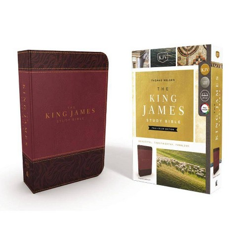 The King James Study Bible, Imitation Leather, Burgundy, Full-Color Edition - by  Thomas Nelson - image 1 of 1