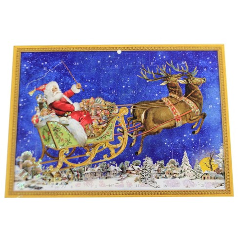 "Christmas 8.0"" Santa & Reindeer Fly Over Advent Calendar Sleigh German  -  Advent Calendar - image 1 of 3"