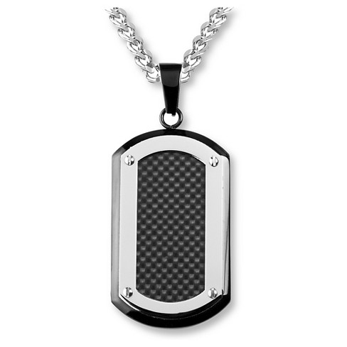 Men's Crucible Blackplated Stainless Steel Carbon Fiber Inlay with Silvertone Edge Dog Tag Pendant - image 1 of 3