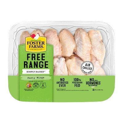 Foster Farms Simply Raised USDA Antibiotic Free Party Chicken Wings - 1-2.5lbs - price per lb