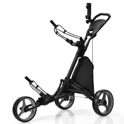 Goplus Folding 3 Wheels Golf Push Cart W/Bag Scoreboard Adjustable Handle Red\Blue\Grey\Green