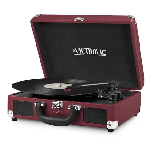 Victrola Bluetooth Suitcase Record Player with 3 speed Turntable (Marsala)