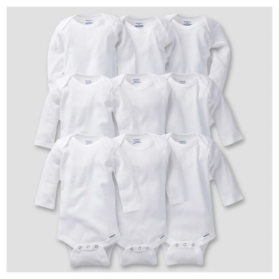 Gerber® Baby 9pc White Long Sleeve Grow with Me Onesies® Bodysuits - 0-3M, 3-6M, 6-9M