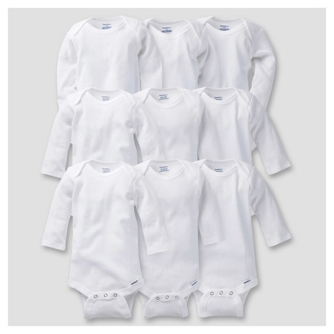 Gerber® Baby 9pc White Long Sleeve Grow with Me Onesies® Bodysuits - 0-3M, 3-6M, 6-9M - image 1 of 6