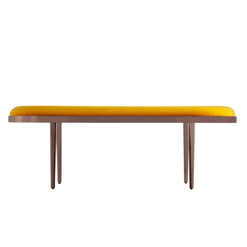 Image of Bicknell Velvet Bench Yellow/Champagne - Holly & Martin