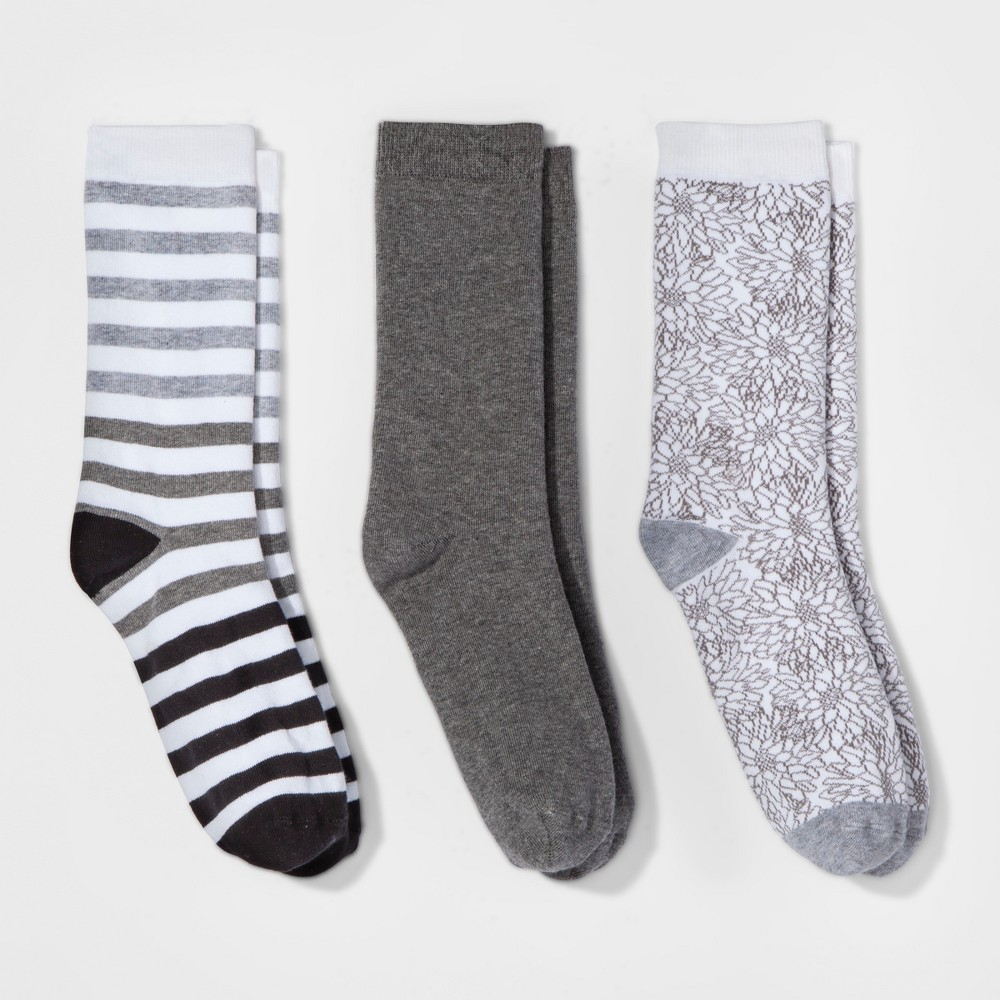 Women's 3pk Crew Socks - A New Day Gray Sketch Floral One Size, Multi-Colored