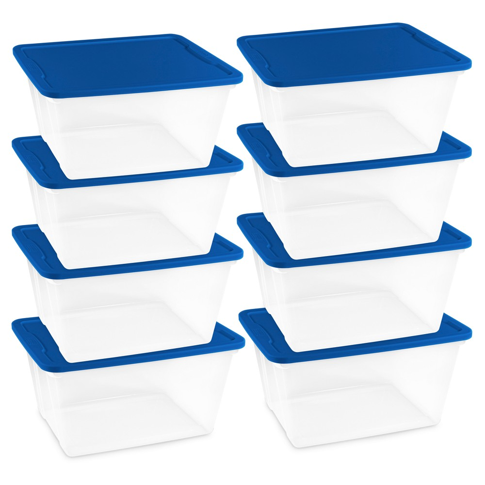 Image of Homz 56qt Storage Totes, Set of 8, Clear/Blue