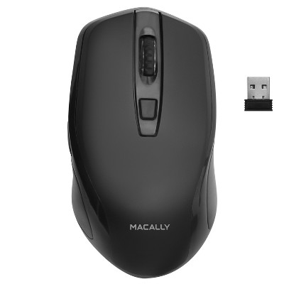 Macally RF Wireless 3 Button, Smooth Soft High DPI Mouse With 3 Button Rechargeable Mouse - Black