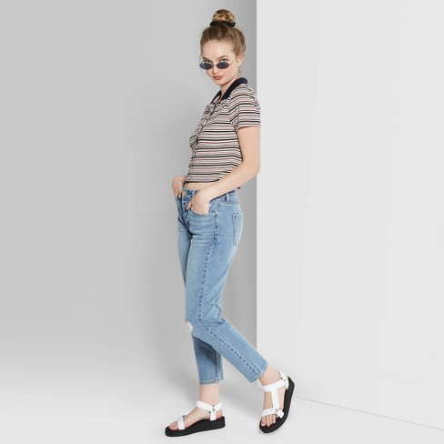 Women's High-Rise Girlfriend Jeans - Wild Fable™ Blue - image 1 of 3