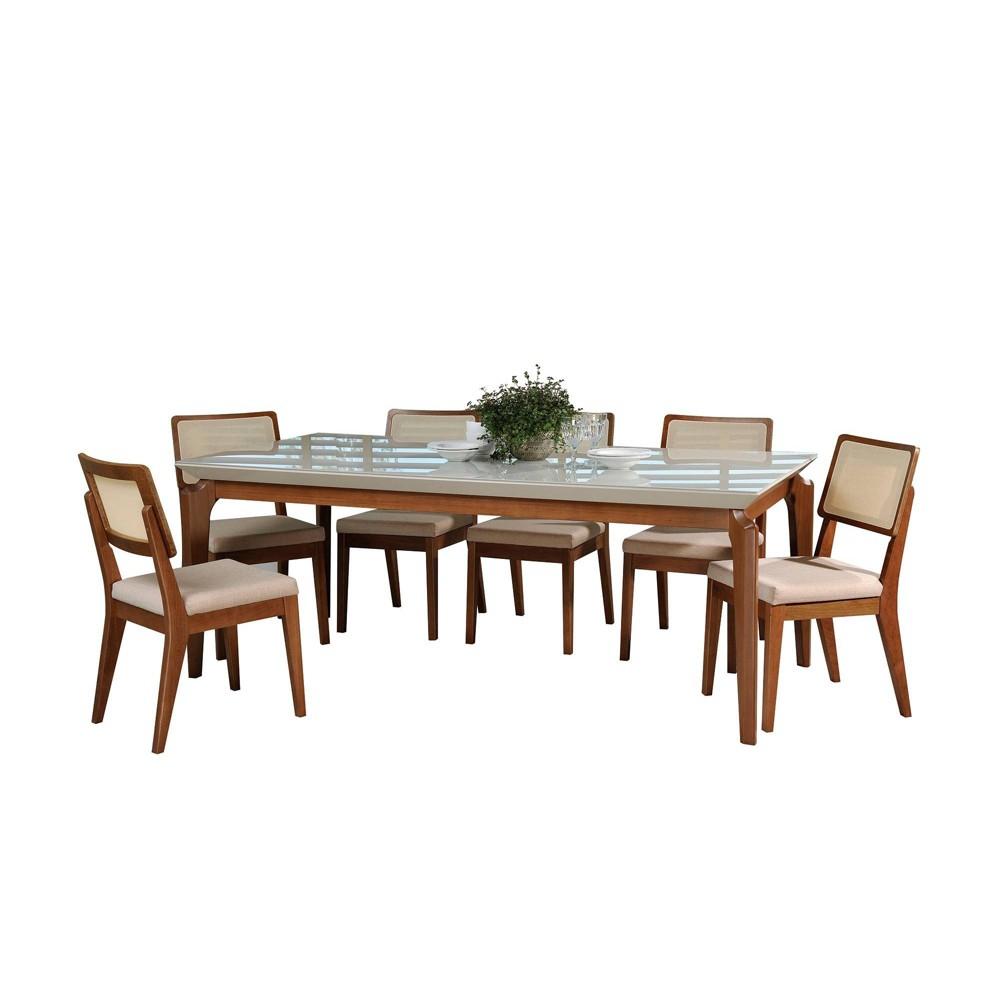 82.67 7pc Payson and Pell 2.0 Dining Set Off-White/Dark Beige - Manhattan Comfort