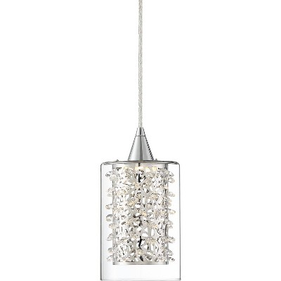 "Possini Euro Design Chrome Mini Pendant Light 5 1/2"" Wide Modern LED Crystal Clear Glass Fixture for Kitchen Island Dining Room"