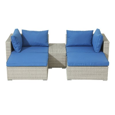 5pc Wicker Rattan Seating Set with Blue Cushions - Accent Furniture
