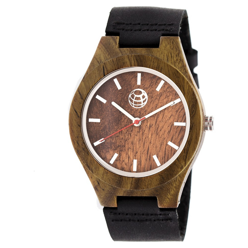 Earth Wood Aztec Men's Leather-Band Watch - Olive/Black, Olive Tree
