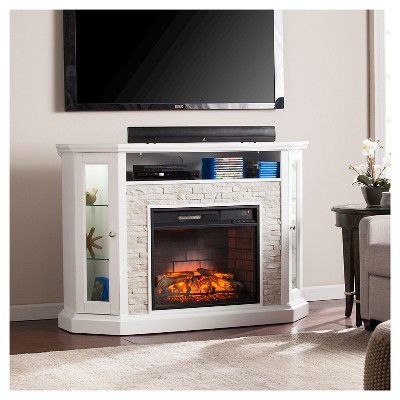 reza corner convertible infrared electric fireplace media stand rh target com electric fireplace tv stands costco electric fireplace tv stands lowes