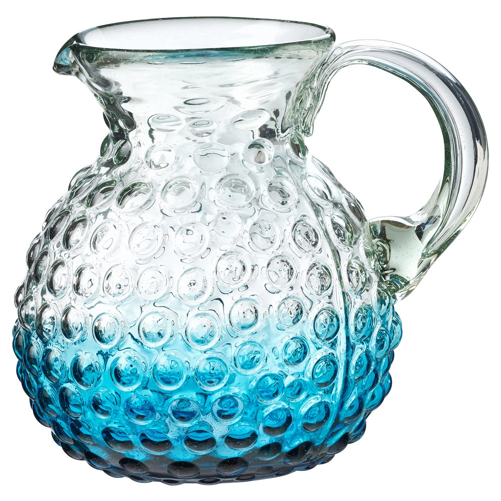 Image of Global Amici Catalina Ombre Hobnail Pitcher Aqua, Blue