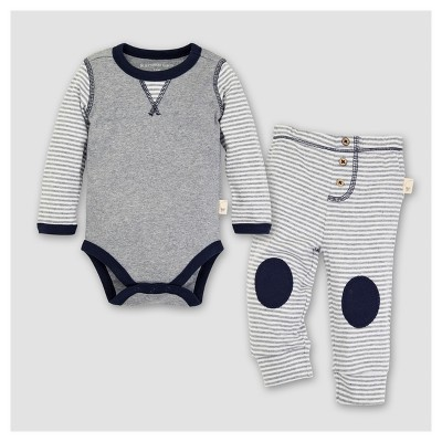 Burt's Bees Baby® Boys' Organic Cotton Long Sleeve Classic Stripe Bodysuit and Pants Set 2pc Midnight - Navy 6-9 M