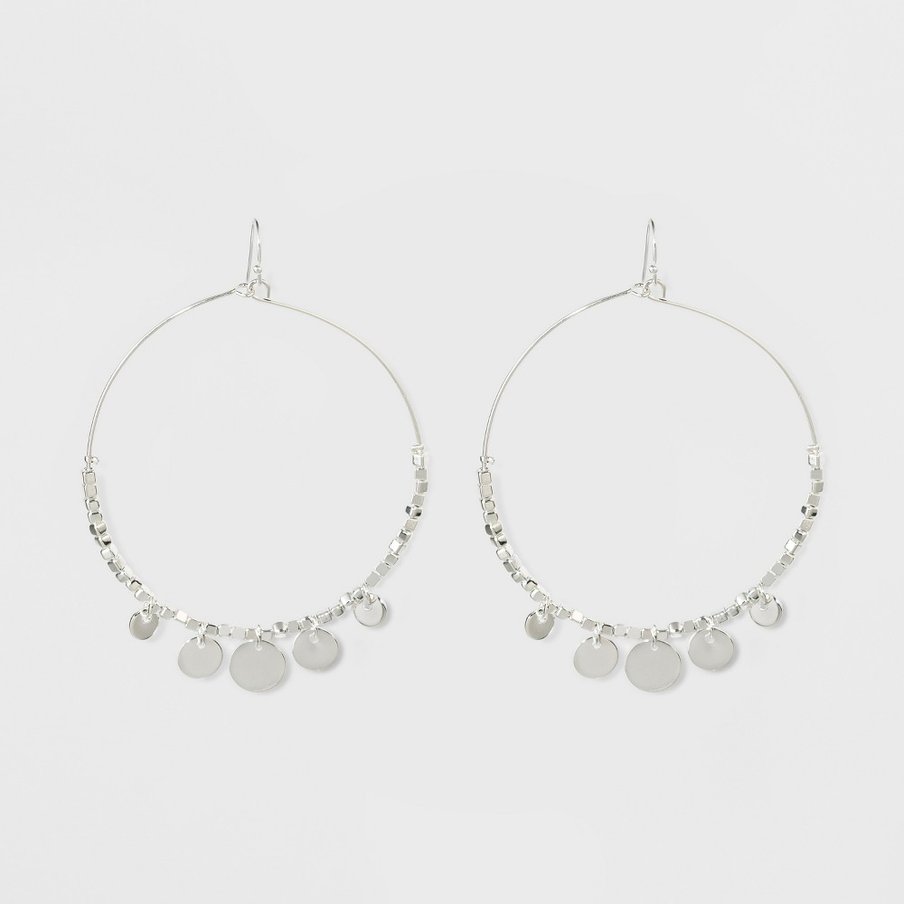 Large Wire Hoops and Small Coins Earrings - A New Day Silver