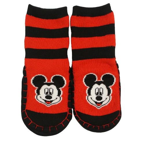 Mickey Full Cushion Gripper Slipper Socks Red 2T-3T  - Disney® - image 1 of 1