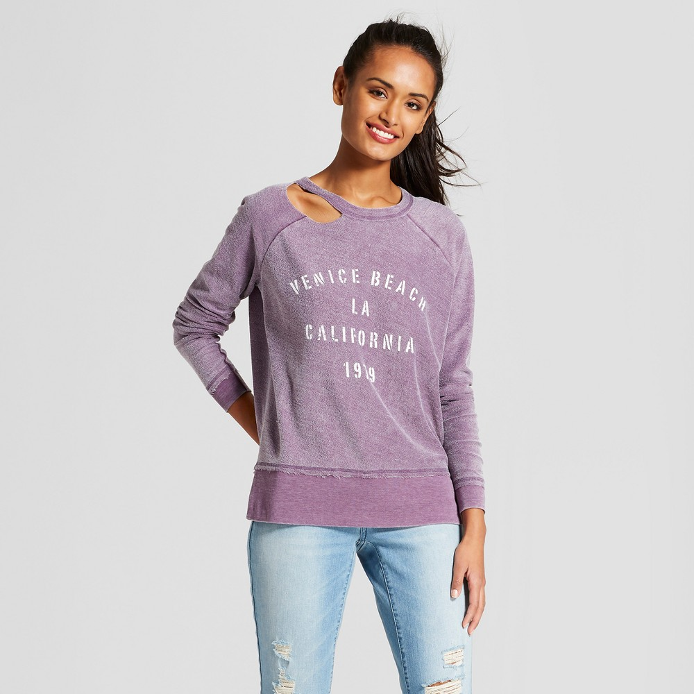 Women's Venice Beach LA California Cut-Out Pullover Graphic Sweatshirt - Grayson Threads (Juniors') Purple M