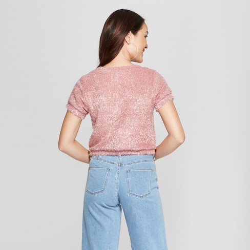 28b7482b5e9929 Women s Short Sleeve Fuzzy Crop Sweater T-Shirt -...   Target