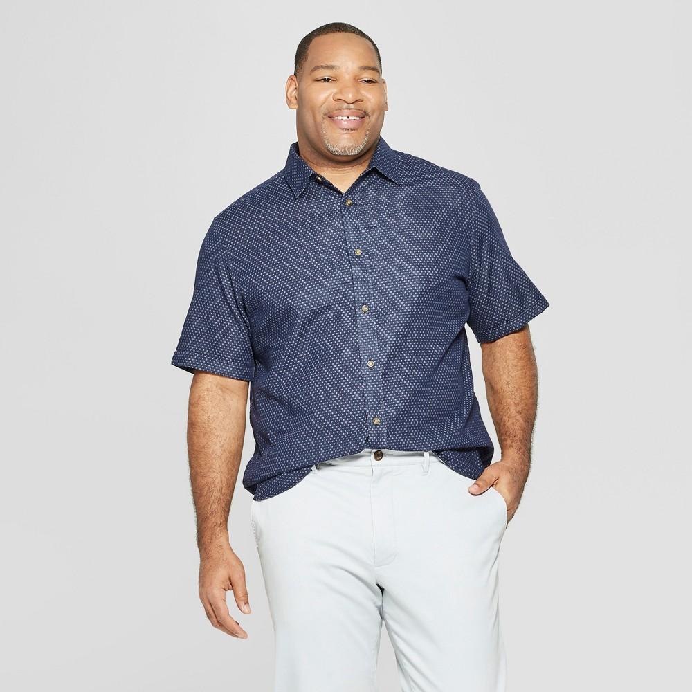Men's Tall Polka Dot Short Sleeve Novelty Button-Down Shirt - Goodfellow & Co Xavier Navy MT, Blue