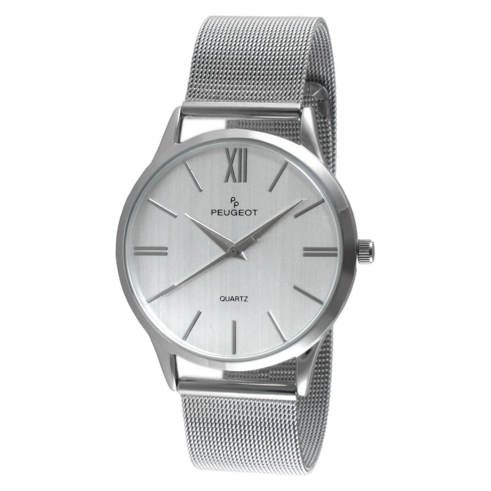 Men's Peugeot Round Slim Stainless Steel Mesh Bracelet Watch - Silver This dress timepiece features an analog time display. Color: Silver. Gender: Male. Age Group: Adult.