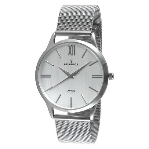 Men S Peugeot Round Slim Stainless Steel Mesh Bracelet Watch Silver
