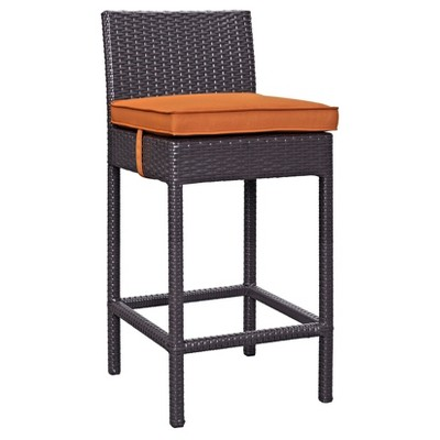 Lift Bar Stool Outdoor Patio Set Of 2 In Espresso Orange   Modway