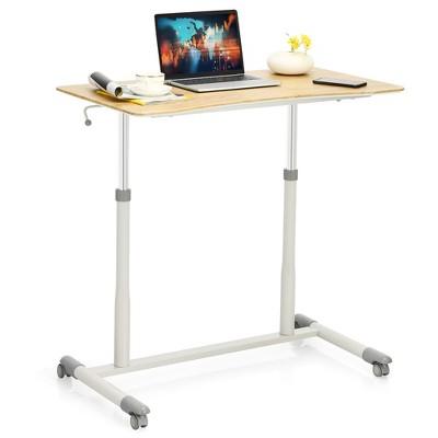 Goplus Height Adjustable Computer Desk Sit Stand Rolling Notebook Table Natural\Brown\Black