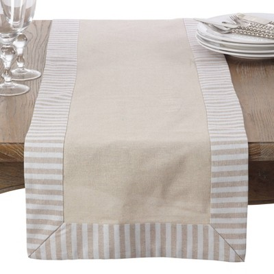 Striped Pattern with Border Design Linen Cotton Classic Table Runner - Saro Lifestyle