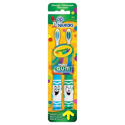 SUNSTAR GUM® Crayola™ Ultra soft Toothbrush - Twin Pack - assorted colors