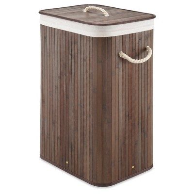 Whitmor Rectangular Dark Bamboo Hamper with Rope Handles