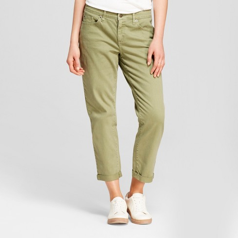 Women's Mid-Rise Boyfriend Crop Jeans - Universal Thread™ Green - image 1 of 3