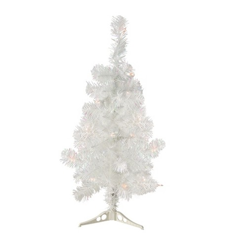 Northlight 2 X 14 Pre Lit White Artificial Tinsel Christmas Tree Clear Lights