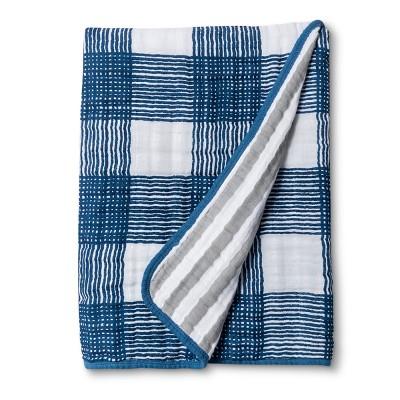 Swaddle Blanket Blue Plaid - Cloud Island™ True White