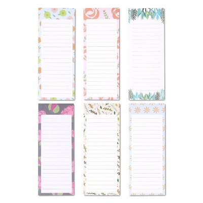 """Juvale 6-Pack Magnetic Note Pads, Grocery & Shopping Notepad, To-do List for Fridge, Floral Design (60 Sheets per Pad) 3.5"""" x 9"""""""
