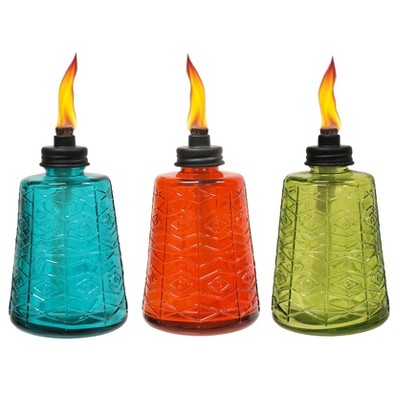 3pk 6  Glass Table Torch Red, Green & Blue - Tiki®